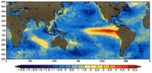Anomalie de températures à la surface des océans en décembre 1997
