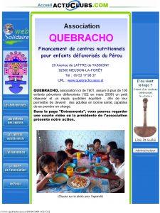 page d'accueil du site quabracho en mai 2009